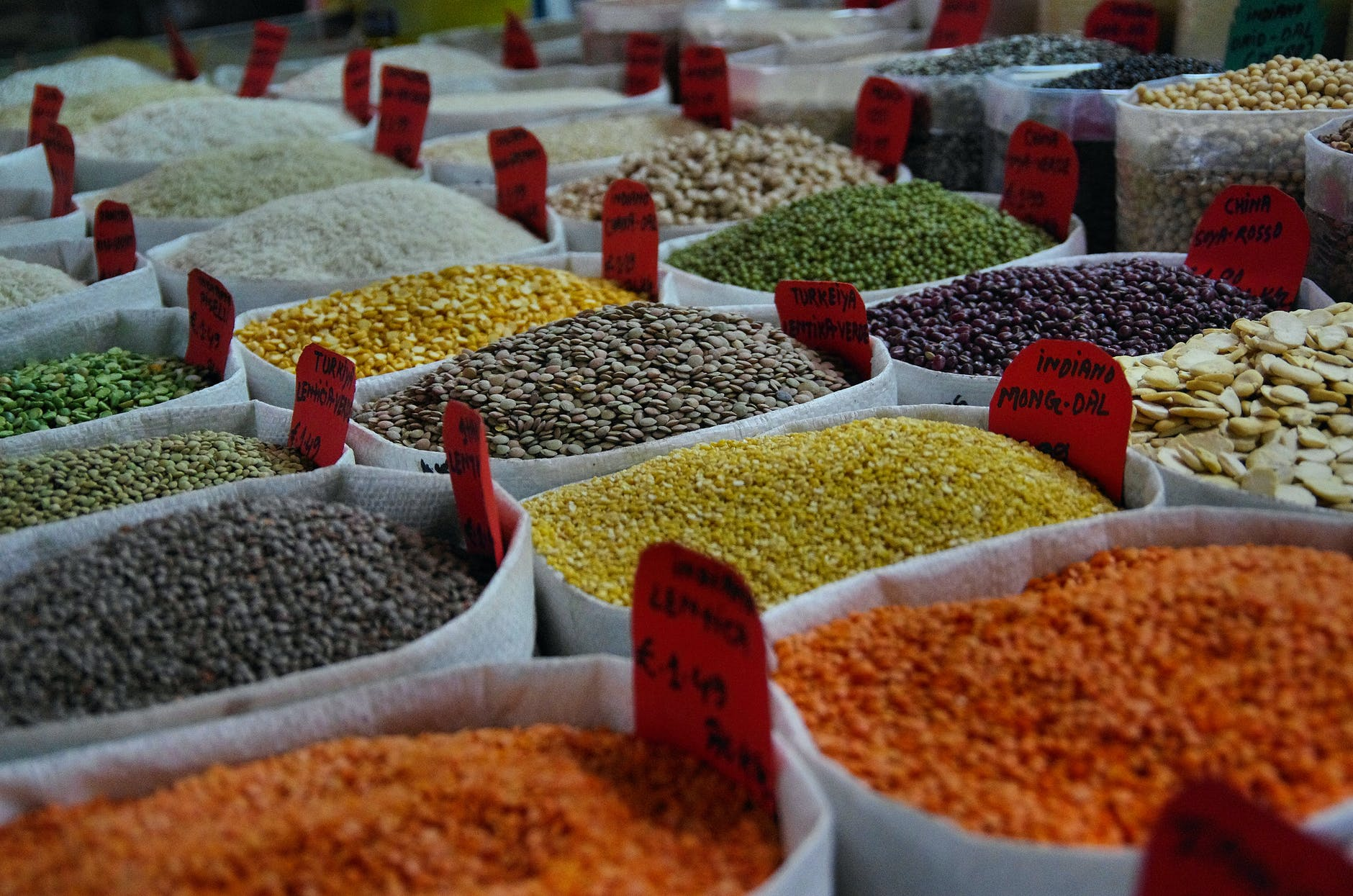 assorted color beans in sack