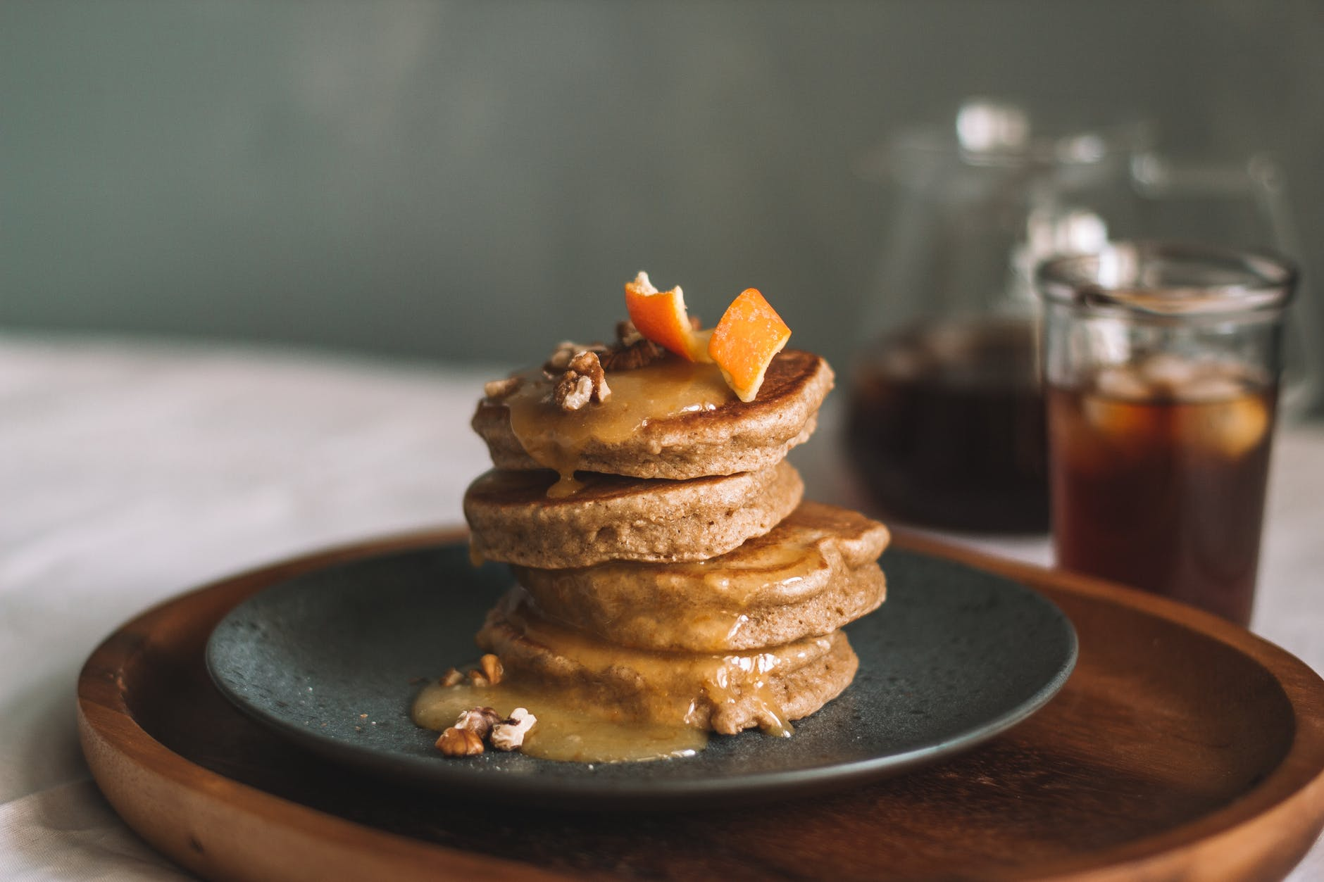 stack of pancakes with sauce